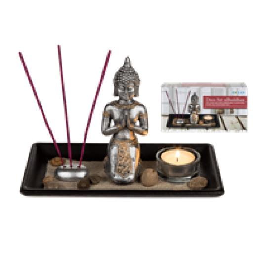 Deco Set Buddha- Meditation Tea Lights Incense Relaxation Zen Garden
