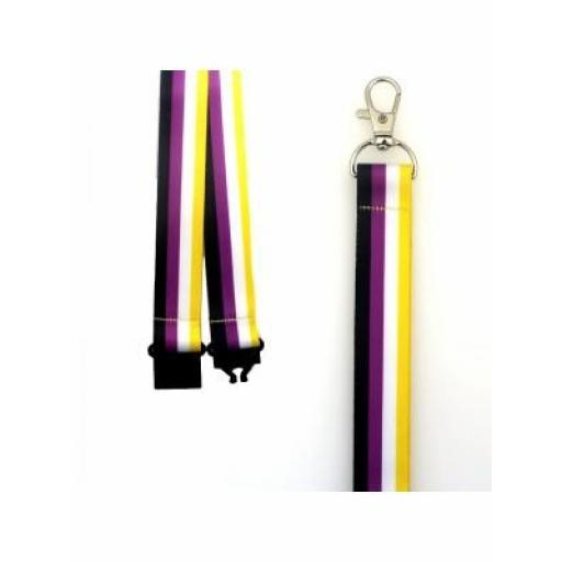 Non-Binary Colours Design Lanyard with Lobster Claw Closure