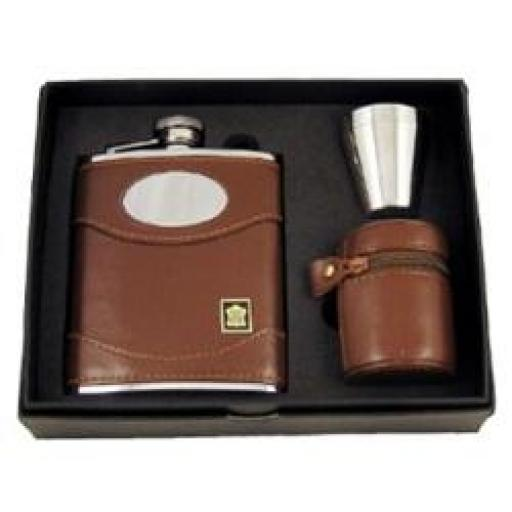 Brown leather flask with engraving plate and cups in a case