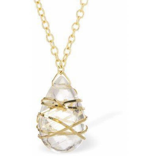 Gilded Quartz 24 Carat Gold Plated Moonstone Necklace