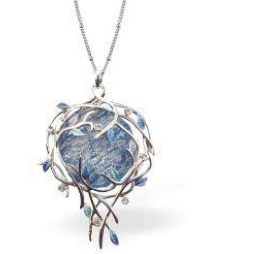 Designer Angelic Floral Necklace in crisp Blue Haze