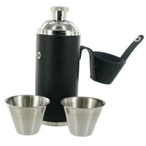 Black Hunting Flask And Cups