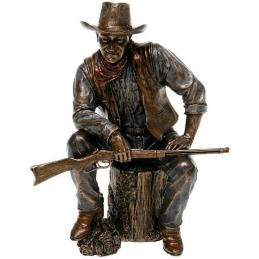 John Wayne Sitting On Log Bronze Statue