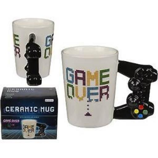 GAME OVER 3D CONTROLLER HANDLE GAMING NOVELTY COFFEE MUG CUP NEW IN GIFT BOX