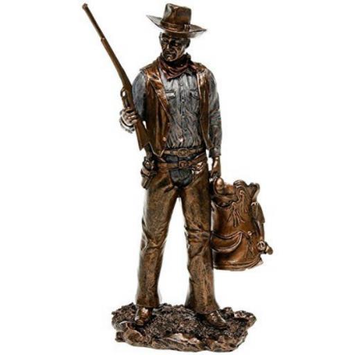 John Wayne Standing Holding Gun & Saddle Bronze Statue