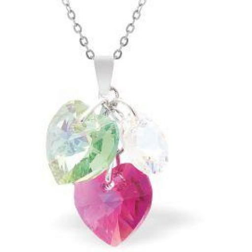 Swarovski Crystal Fuchsia Pink and Peridot Green Hearts Necklace