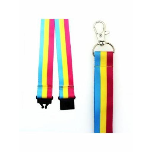Pansexual Colours Design Lanyard with Lobster Claw Closure