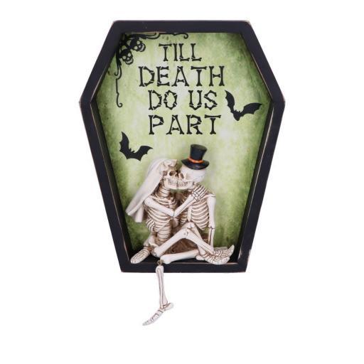 Till Death Do Us Part 31.3cm Till Death Do Us Part Skeleton Bride and Groom Wall Plaque