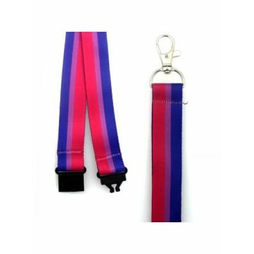 Bisexual Colours Design Lanyard with Lobster Claw Closure